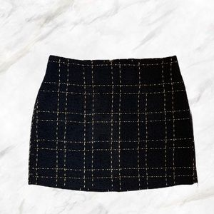 F21 | Navy Blue & Gold Plaid Mini Skirt